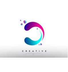 D letter design logo rainbow bubble gum letter vector