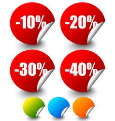 discount stickers labels with minus 10 to 40 vector image