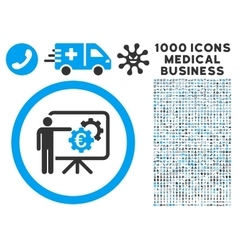 Euro Business Project Presentation Icon with 1000 vector