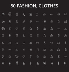 fashion clothes editable line icons set on vector image