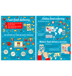 fast food takeaway and delivery infographic vector image