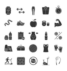 fitness glyph icons set vector image