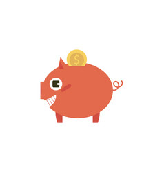Flat money box pig earnings save object vector