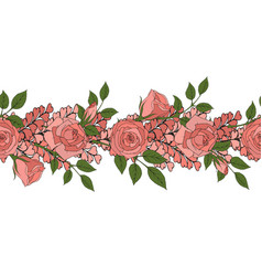 Floral seamless border pink romantic roses vector