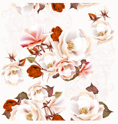floral seamless pattern with roses in vintage vector image