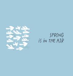 Flying white bird air spring postcard vector