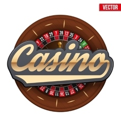Gambling roulette wheel with Casino tag vector