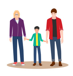 gay couple on a walk with their child vector image