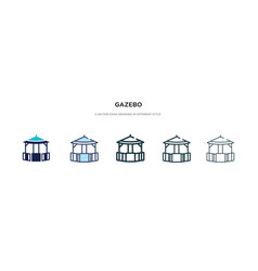 Gazebo icon in different style two colored and vector