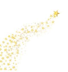 Golden star flowing vector