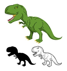 Green gigantic dinosaur tyrannosaurus rex vector