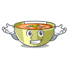 Grinning cartoon lentil soup ready to served vector