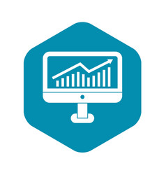 Growth graph on computer monitor icon vector