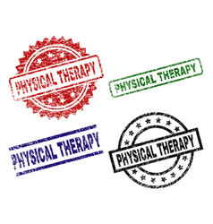 Grunge textured physical therapy seal stamps vector