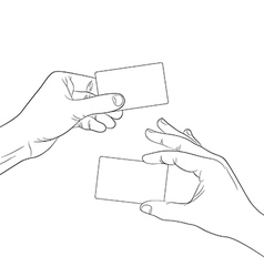 Hand hold a blank card outline contour vector