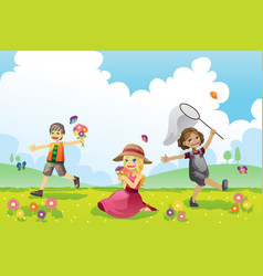 Happy children in spring season vector