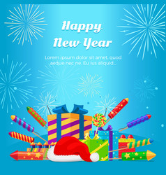 Happy new year 2017 set of fireworks gift boxes vector