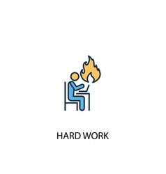 hard work concept 2 colored icon simple blue vector image