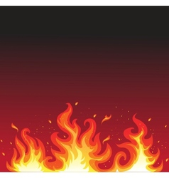 Hot fire on black vector image
