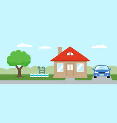 House and swimming pool vector