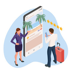 isometric travel and tourism concept buying vector image