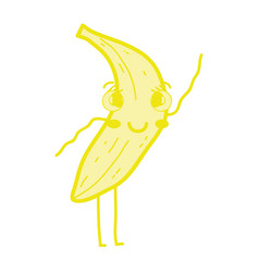 kawaii cute happy banana fruit vector image vector image