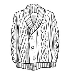 Knitted sweater with braids pattern isolated vector