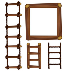 Ladders and wooden frame vector