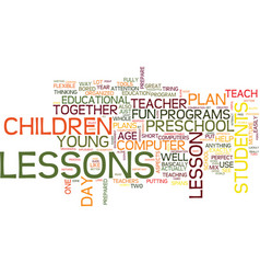 Learn from a good preschool lesson plan text vector
