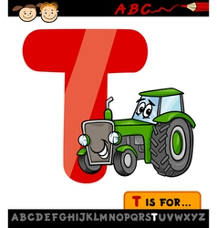 Letter t with tractor cartoon vector
