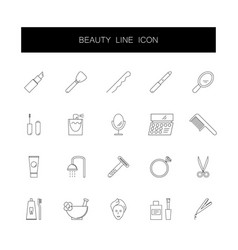 line icons set beauty pack vector image