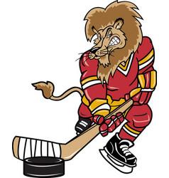 lion sports logo mascot hockey vector image