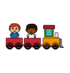 little boys with train toy vector image