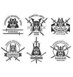martial asian labels samurai agressive warrior vector image