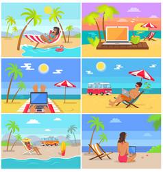 Men and women work as freelancers in summer set vector