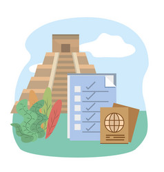 mexican pyramid checklist passport tourist vector image