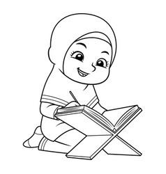 Moslem girl reading koran bw vector