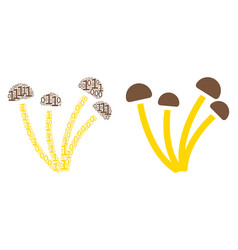 Mushrooms collage of binary digits vector