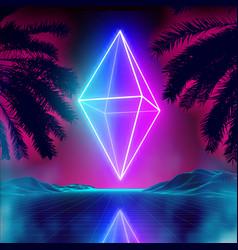 Neon rhombus on retro background landscape vector