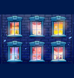 night windows with christmas and new year decor vector image