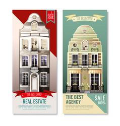 Old european facade houses vertical banners vector