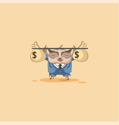 Owl in business suit raises barbell bags money vector