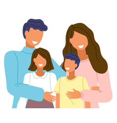 parents and children close-up take a family shot vector image