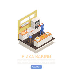 Pizza baking isometric composition vector
