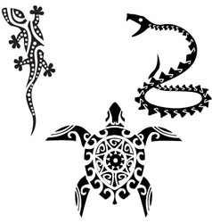 reptile tribal art tattoo vector image vector image