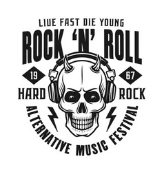rock n roll emblem with devil skull vector image