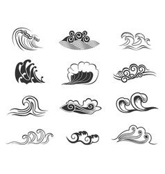 Sea and ocean waves retro symbols with water swirl vector