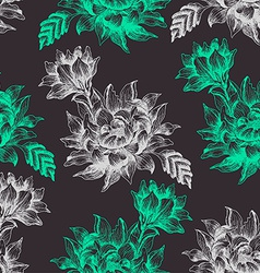 Seamless pattern with big flowers on dark vector