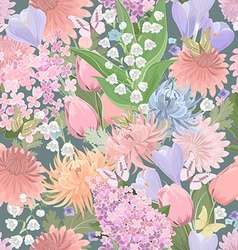 seamless texture with different flowers and vector image