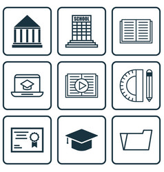 Set of 9 school icons includes taped book opened vector